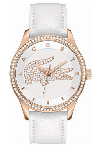 Lacoste Damen Analog Quarz Armbanduhr mit Lederarmband