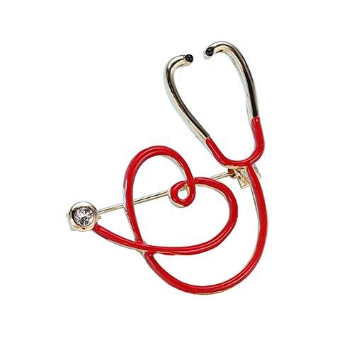 Broche estetoscopio médico Doctor y corazón rojo, acero dorado.