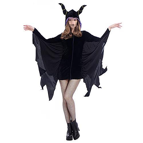 YyiHan Disfraz De Halloween, Disfraz De para Niña Halloween Disfraz Vestido Halloween Cosplay,Disfraz De Murciélago De Halloween Cuernos De Demonio Disfraz De Escenario Disfraz De Demonio