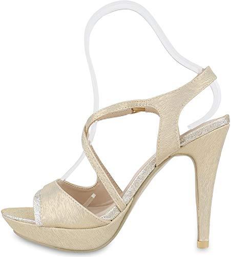 Elegante Damen Sandaletten High Heels Braut Party Animal Print Plateau Schleifen Abschlussball Schuhe 129995 Gold 39 Flandell