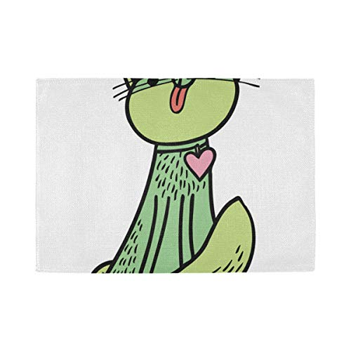 Set de Table Green Cat Graphic Art, Tapis de Table antidérapants résistants à la Chaleur, adaptés à la Table à Manger, Cuisine à Domicile, Bureau et e