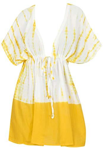 LA LEELA Tie Dye Dress Maillot de Bain Cover Up Femme Tunique Robe de Plage d'été Bikini Cache-Maillots Jaune_X997 L-XXL