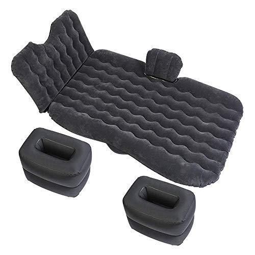 SMEJS Colchón inflable de aire para coche con bomba (portátil), para viajes, camping, vacaciones, asiento trasero, cojín para dormir, camión, SUV, tamaño doble, 135 cm x 90 cm x 50 cm (color: negro)