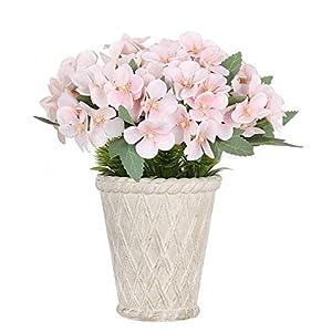 Silk Flower Arrangements SAROSORA Fake Flowers in Vintage Roman Flower Pot - Begonia Flowers for Festival Indoor Home Decoration (Light Pink, White Pot)