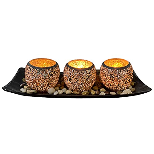 Juego de candelabros de cristal con bandeja de candelabro para mesa de comedor, decoración de mesa de café