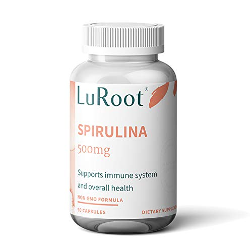 LuRoot Organic Spirulina Superfood Non-GMO-500 mg Powder Capsules, Spirulina Powder Supplement | High Protein Rich in Vitamins and Calcium - 90 Count (1 Pack) (1)