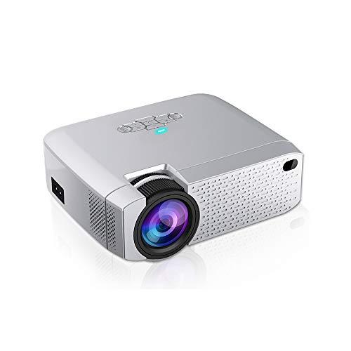 Mini Projector, Video Beamer voor Home Cinema.1600 Lumens, Ondersteuning HD, Draadloze Sync Display voor telefoon, Ondersteunt Outdoor en Indoor Gebruik