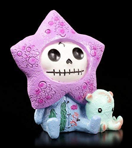 Furrybones Figur | Seestern Starfish mit Mini Krake | inkl. Geschenkbox für Sammler | Lustige Deko Totenkopf Gesicht