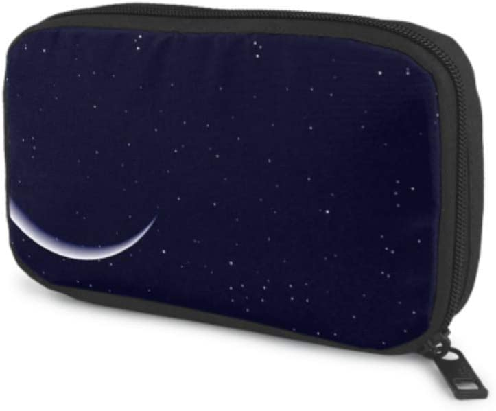 Electronics Accessories Organizer Bag Night Starry Sky Half Full Moon Electronics Organizer Electronic Organizer Travel Universal Cable Organizer Storage Bag of Cases for Cable, Charger, Phone, USB