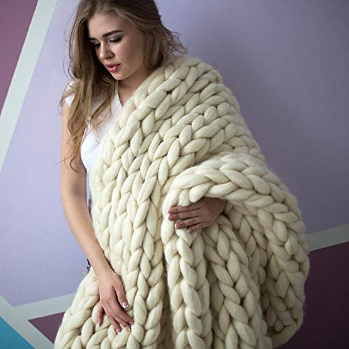 VIYEAR Chunky Knit Blanket Soft Handmade Knitting Throw Bedroom Sofa Decor Super Large Ivory White 40'x59''