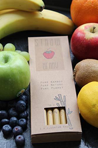 Pure Planet Bio Bambus Strohhalme, einzigartige Fruchtsymbolgravur, 14 StrawBerry\'s mit Reinigungsbürste, wiederverwendbar