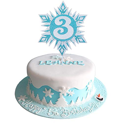 Glittery Frozen Cake Toppers 3, Frozen Cake Topper 3rd Birthday, Snowflake Cake Topper, Winter Wonderland Snow Princess Happy Birthday Cake Topper for Girls Kids Frozen 3rd Birthday Party Decorations