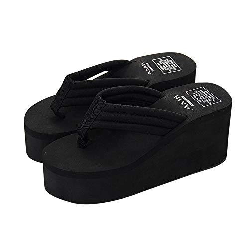 Damen Zehentrenner Sommer Keilabsatz Plateau Zehenstegsandalen mit Label, Frauen Flip Flops Bequeme Strandpantolette Sandalen Celucke (Schwarz, EU35)