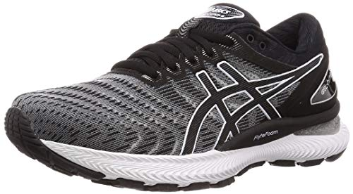 Asics Mens Gel-Nimbus 22 Running Shoe, White/Black, 46.5 EU