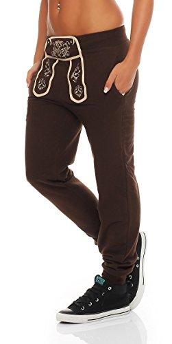 Gennadi Hoppe Damen Sporthose Pant im Trachtenlook (XX-Large, braun)