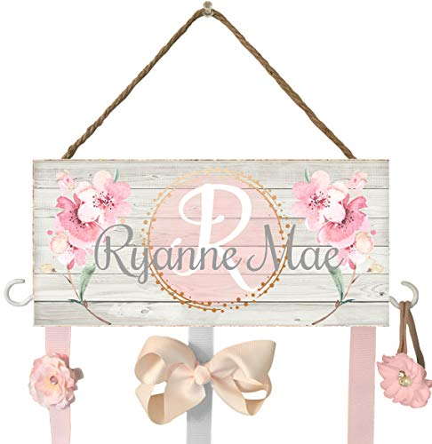 Hair Bow Holder for Walls, Hooks for Headbands and Jewelry, Personalized Hair Bow Holder, Farmhouse Decor, Rustic Baby Nursery, Personalized Baby Shower Gift, Organizer, Hair Bow Holder, Pink Flowers