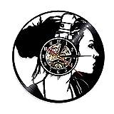 ROMK Chic Reloj de Pared Silueta de niña Arte de la Pared Decoración...