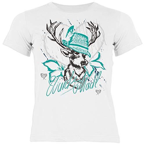 Bayrisches Trachten Kinder-Shirt - Trachten-Motiv Hirsch T-Shirt für Mädchen : Wuids MADL (Hut türkis) - Volksfest/Oktoberfest/Tracht Kind Gr: M = 134-140
