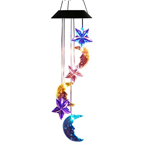 Lainin Solar Wind Spinner Color Changing Star Moon Wind Chime Light Mobile for Home Outdoor Garden