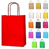 Thepaperbagstore 15 Petit Sacs en Papier avec Poignées Torsadées pour Cadeaux et Fêtes - Rouge - 180x220x80mm