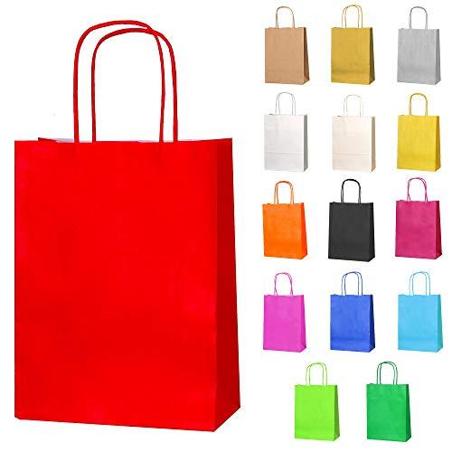 Thepaperbagstore 30 Papiertüten für Partys und Geschenke mit Griffen - Rot - 180x220x80mm
