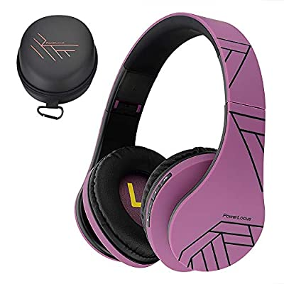 PowerLocus Bluetooth Over-Ear Headphones, Wireless Stereo Foldable Headphones Wireless and Wired Headsets with Built-in Mic, Micro SD/TF, FM for iPhone/Samsung/iPad/PC (Black/Purple) by Powerlocus