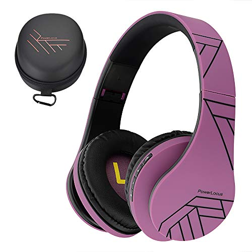 PowerLocus Bluetooth Cuffie Auricolari Pieghevoli, Over Ear Bluetooth Headphones Stereo Senza Fili Cuffie o Collegate Headset con Microfono, Micro SD/TF, FM per iPhone/Samsung/iPad/PC (Nero/Viola)