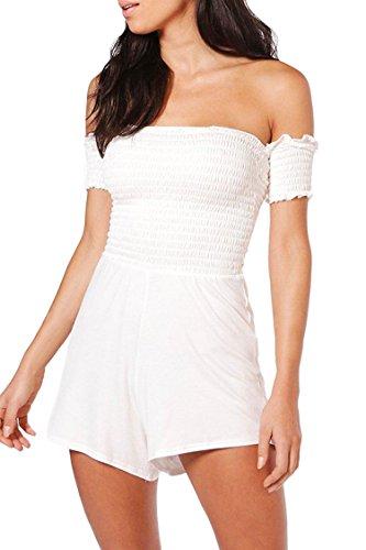 COOleggings Ladies Strapless Short Sleeve Bandeau Jumpsuit Rompers White S