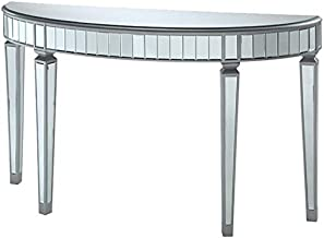 BOWERY HILL Mirrored Demilune Accent Console Table in Silver