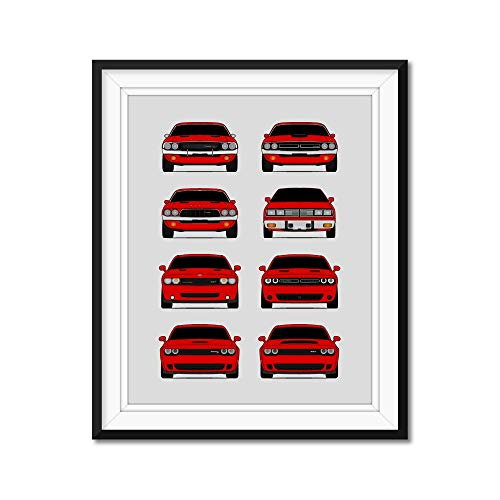 Dodge Challenger Generations Inspired Poster Print Wall Art Handmade Decor of the History and Evolution of the Challenger SRT