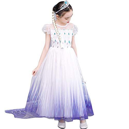 Iwemek 2 disfraces de reina del hielo Elsa para niña, vestido de princesa de nieve, con copos de nieve, vestido de tul, para Navidad, carnaval, fiesta de cumpleaños C - Morado. 6-7 Años
