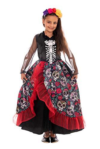 Magicoo Disfraz de esqueleto mexicano para niños, incluye vestido y diademas, talla 110-140, disfraz de vampiro para niño, disfraz de bruja