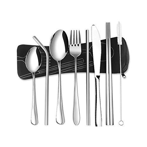 8 cubiertos portátiles, juego de cubiertos de acero inoxidable, cubiertos de camping, incluyendo cuchillos, tenedores, cucharas, cucharas, palillos, 2 pajitas, cepillos, bolsa de transporte (plata)