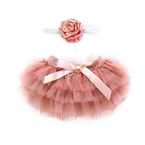 Puseky Baby Girls Ruffle Tutu Vestido de falda Bragas Trajes de diadema de flores Conjunto Fotografía Prop vestuario (Color : Dark pink, Size : 0-6M)