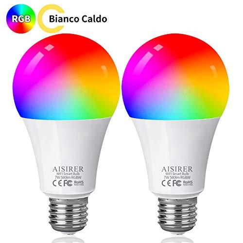 Lampadina Smart E27, AISIRER Lampadina Intelligente WiFi, LED RGB Dimmerabile Multicolore e Bianco Caldo, Compatibile con Alexa e Google Home, 60W Equivalente, Senza Hub Richiesto (2 Pack)