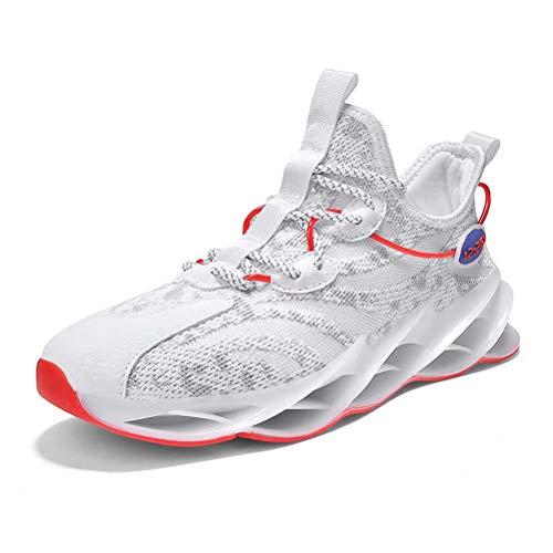 Sneakers Hombre Malla Tejida con Mosca Zapatos De Running Transpirables Casual Zapatos Gimnasio Zapatillas De Deporte Blanco 41