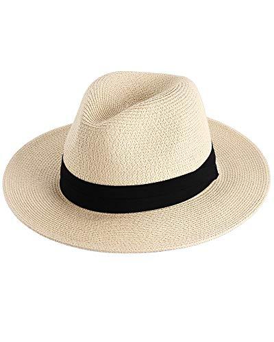 FURTALK Damen Panamahut Breite Krempe Stroh Sonnenhut für Sommer und Strand Verstellbare Strohhut