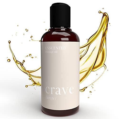 CRAVE Huile de Massage Relaxante - 100% Pure & Naturelle - pour Massage et Relaxation - Mélange d'Huile d'Amande Douce Bio et Huile de Coco Corps - Huile de Massage pour Coffret Massage, 200 ml