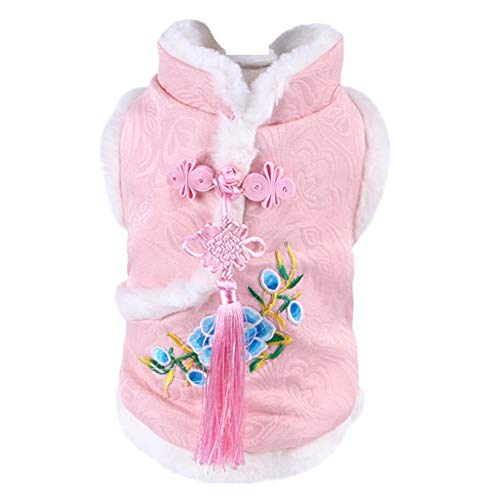 CheeseandU Dog Tang Costume 2020 Chinese Spring Festive Peony Dress with Chinese Knot Decor for Pet Winter Coat Happy New Year Cheongsam Qipao Dresses for Schnauzer Teddy French Bulldog Cat Pink