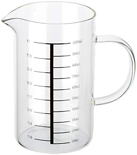 com-four Jarra medidora para la cocina - Vaso medidor de vidrio resistente a la temperatura - Jarra medidora vaso - Medidor de liquidos, 1l (01 pieza - vaso medidor)