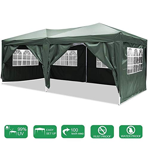 LYXCM Gazebo, Outdoor Event Shelter 3 X 6m (9.8 X 19.6ft) Gazebo Tent Waterproof Pop-up Pavilion with Sides Outdoor Canopy Awning for Wedding Garden Party Four Seasons Pavilion