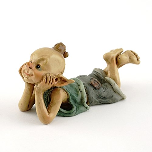 Top Collection Miniature Fairy & Terrarium Garden Pixie in Thought Statue, Small