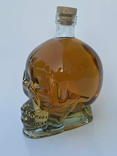 Skull Head Glass Bottle Decanter - 850ml - Perfect Container for Your Favorite Drinks and Liquor Including Scotch, Bourbon & Wine