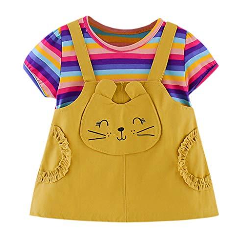 Luoluoluo baby meisjes jurk korte mouwen gestreept zomerjurk met kattenpatroon prinses jurk meisje zomer baby kleding