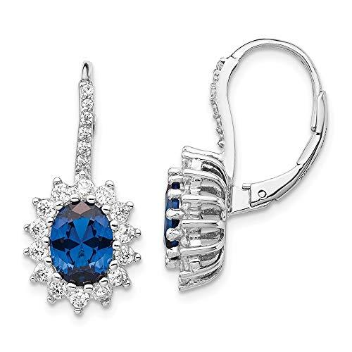 Cheryl M 925 Sterling Silber simulierter Saphir und Zirkonia Klappbügel-Ohrringe Schmuck Geschenke für Frauen