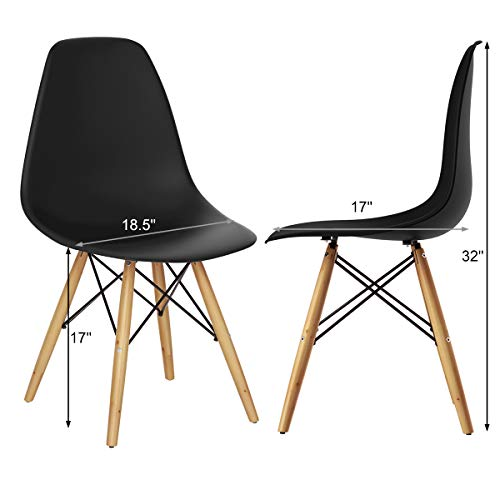 GOFLAME DSW Dining Chairs, Shell Plastic Chairs with Wood Legs, Modern Style Armless Chairs for Living Room Kitchen Bedroom, Eiffel DSW Style Side Chairs with Ergonomic Backrest Set of 2, Black