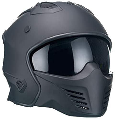 Motorradhelm Jethelm Helm RALLOX 726 matt schwarz mit ansteckbaren Kinnteil Größe L