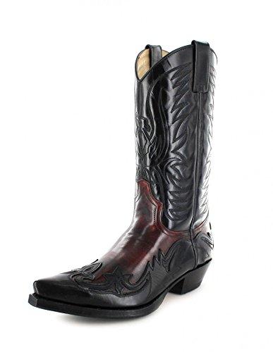 Sendra Boots 3241 Negro Rojo/Damen und Herren Westernstiefel Schwarz/Cowboystiefel Rot/Damenstiefel/Herrenstiefel, Groesse:38