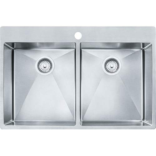 Franke HF3322-1 Vector 33.5u0022 (33u0022 Compatible) Dual Mount Double Bowl 1-Hole 9u0022 Deep Kitchen Sink with Fast-in Installation System, Stainless Steel