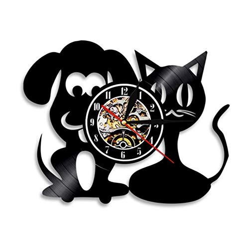 7-Color LDE Atmosphere Light Vinyl Record Wall Clock Cat and Dog Design Silent Quartz Watch Home Decor Gift R1